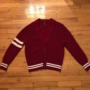 Deep red white stripe varsity sweater